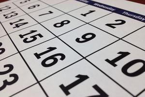Zahlen im Kalender