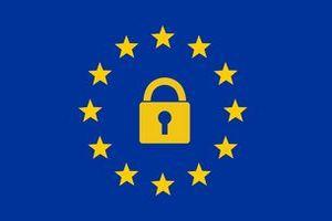 EU-Sterne mit Vorhänge-Schloss innendrin