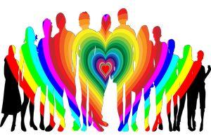 Gruppe Menschen überlagert von Herz mit Regenbogenfarben