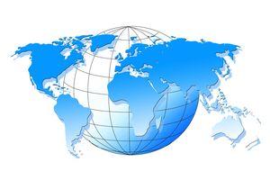 Weltkarte mit Weltkugel