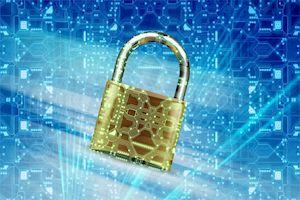 Symbolbild: Schloss vor digitalen Daten